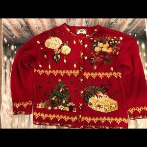 Tiara Ugly Christmas Tree Sweater Vest Sz Large.